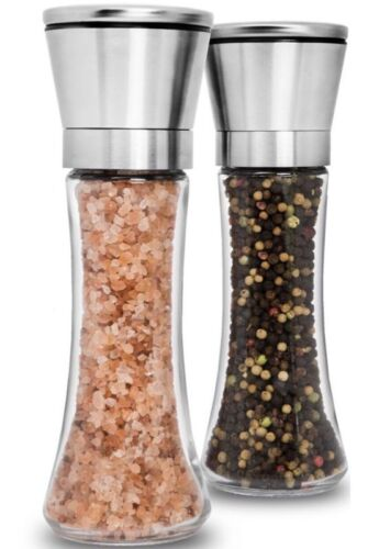 Premium Stainless Steel Salt And Pepper Grinder Set Of 2 Adjustable Ceramic Se