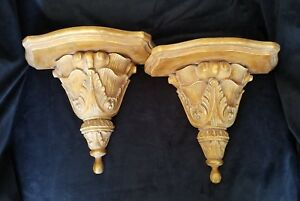 Awesome Details About 2 Large Hand Carved Solid Wood Wall Sconces Shelves 12X10 5X6 Download Free Architecture Designs Lectubocepmadebymaigaardcom