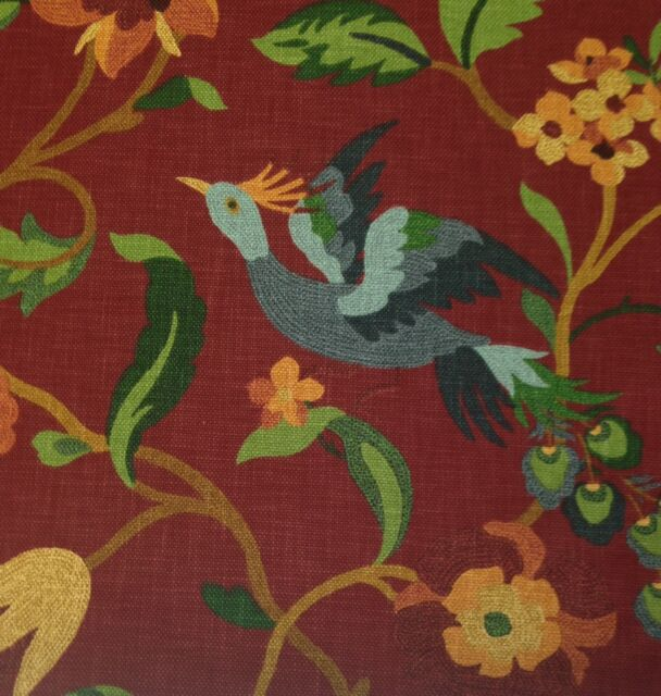RICHLOOM LUCY CARDINAL RED BIRD HEAVY COTTON FLORAL FURNITURE FABRIC 2.5 YARDS