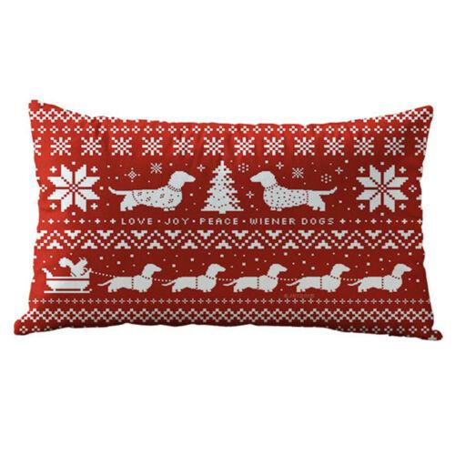 Christmas Decoration Rectangle Linen Cotton Throw Pillow Case Cushion Cover NEW