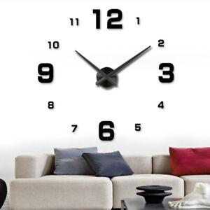 Wanduhr DIY XL Deko Spiegel Edelstahl Uhr Wandtattoo Wand Groß XXL Clock schwarz