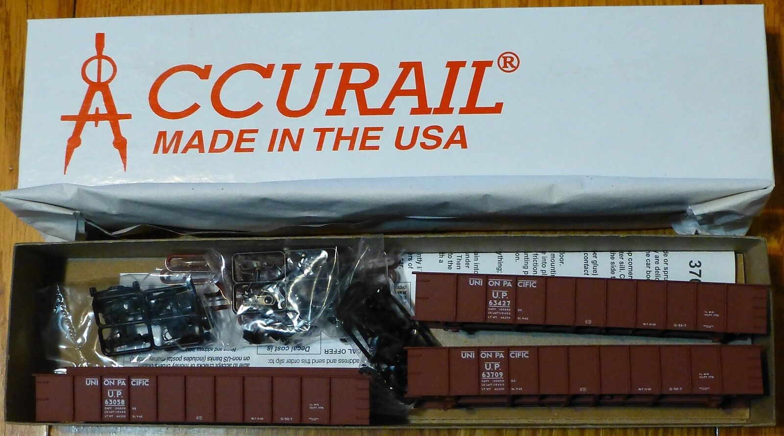 barato Accurail Ho Ho Ho   37424 (3 Pack) Union Pacific Aar 41' Acero Gondola (forma De Kit)  ordene ahora los precios más bajos