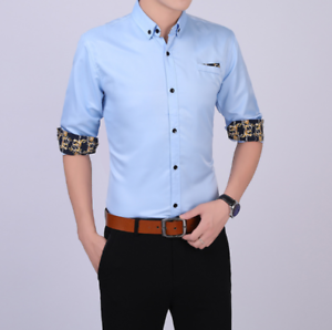 Business-Office-Work-Men-Casual-Stylish-Slim-Fit-Short-Sleeve-Shirt-Tops-Blouse