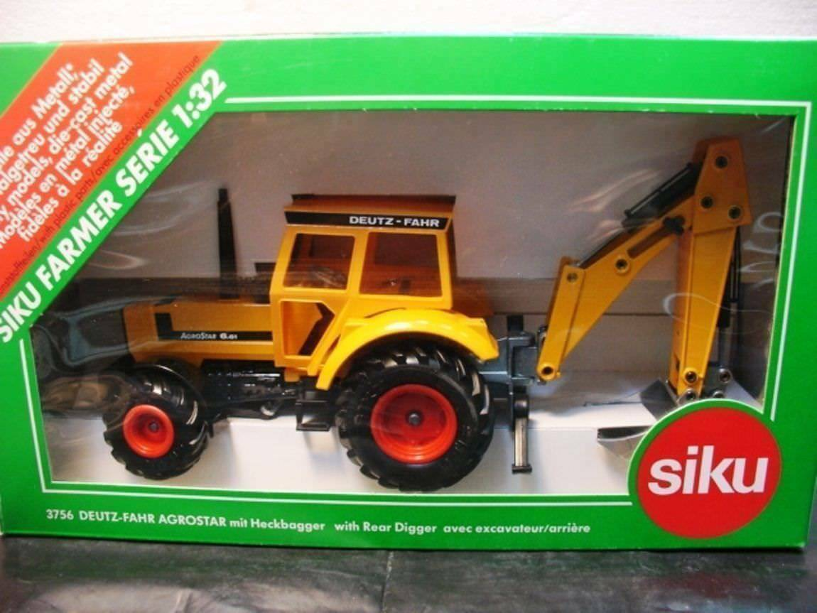 Wow extrêmement rare  3756 Deutz-Fahr Agrostar 6.61 tracteur avec pelle 1 32 Siku