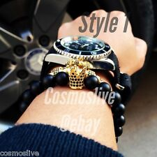 Gold Plated King Crown Charm Bracelet For Men and Women , Matte Stone Beads