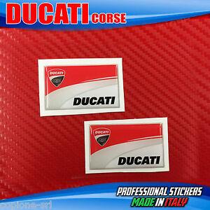 2 Adesivi Resinati Sticker 3D Ducati Corse Carbon Look Carbonio 30 mm