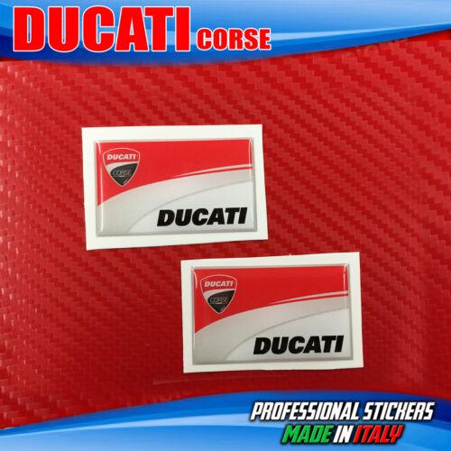 2 Adesivi Resinati 3D DUCATI Corse Scuderia Moto 37 x 22 mm