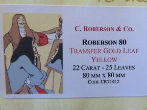 Transfer-Gold-Leaf-Yellow-22-Carat-80-x-80mm-20-Leaves-C-Roberson-amp-Co