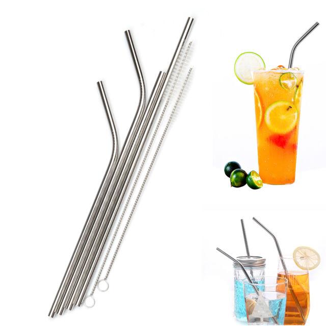 Drinking Reusable Wedding Glass Straws Clean Brush Straight Bent Plastic Box