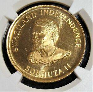 Swaziland-1968-Gold-Lilangeni-Independence-Commemorative-KM-6-NGC-PF-68-UC