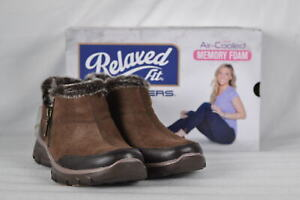 Women-039-s-Skechers-Easy-Going-Zip-It-Ankle-Boots-Chocolate-Brown