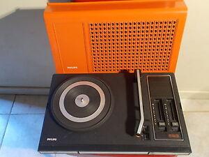 philips 523 tourne disque platine vinyle orange ebay. Black Bedroom Furniture Sets. Home Design Ideas