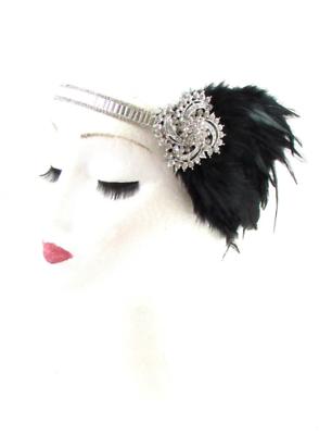 Noir argent plumes coiffe 1920s bandeau garçonne great gatsby vintage 608