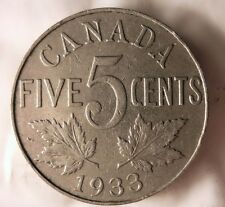 1933 CANADA 5 CENTS - King George V - FREE SHIPPING - Canada Bin #4/A