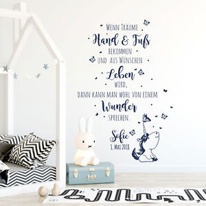 Wandtattoo Spruch Wunder Babyzimmer Wanddeko Kinder Name ...