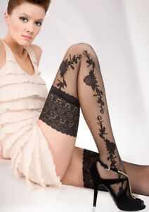 Sensuous-13-cm-Deep-Lace-Top-Patterned-Hold-ups-stockings-20-Denier-Hold-Ups