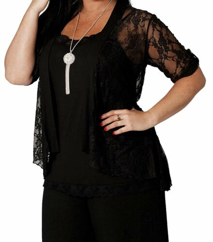 New Womens Oversized Floral Lace 3//4 Sleeve Open Tops Boyfriend Cardigans 14-28