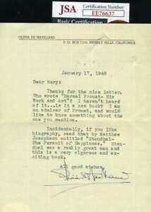 Olivia-Dehavilland-Jsa-Hand-Signed-1948-Letter-Authentic-Autograph