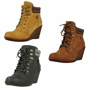 Ladies-Spot-On-F50324-Casual-High-Wedge-Heel-Lace-Up-Ankle-Boots