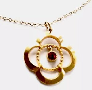 Vintage-Rolled-Gold-Ruby-Paste-Pendant-amp-19-5-Inch-Chain-Necklace-GIFT-BOXED
