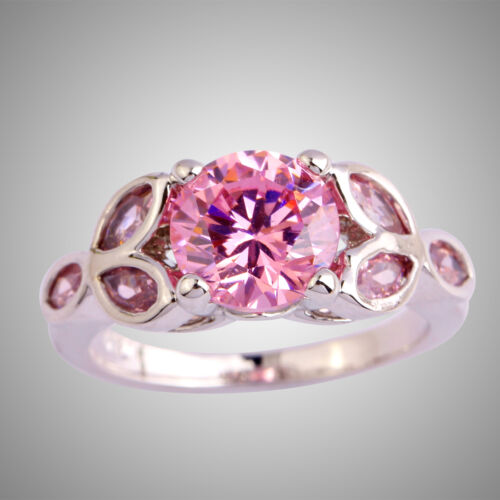 Charmant Femmes Mariage silver ring Bridal Round Cut AAA ROSE TOPAZE pierres précieuses