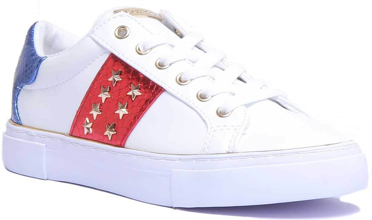 Guess ELE12 Gamer Womens Fabric Trainers in White, Red and bluee UK Size 3 - 8