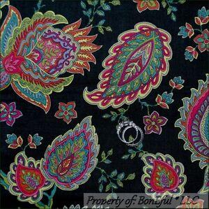 BonEful-Fabric-FQ-Cotton-Quilt-VTG-Green-Dark-Rainbow-Paisley-Flower-Shabby-Chic