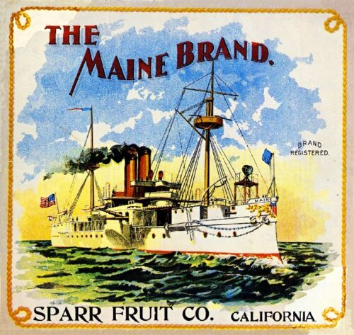 Riverside The Maine Battle Ship Orange Citrus Fruit Crate Label Art Print