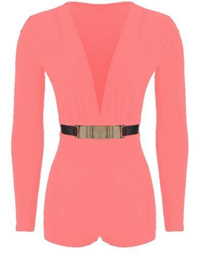 Womens Gold Belted Plunge Neck Long Sleeve Playsuit Dress Jumpsuit Dress 8-14