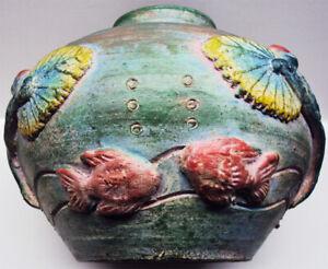"Pottery Bowl Colorful Aquatic Scene Unsigned 8""H x 10""W"