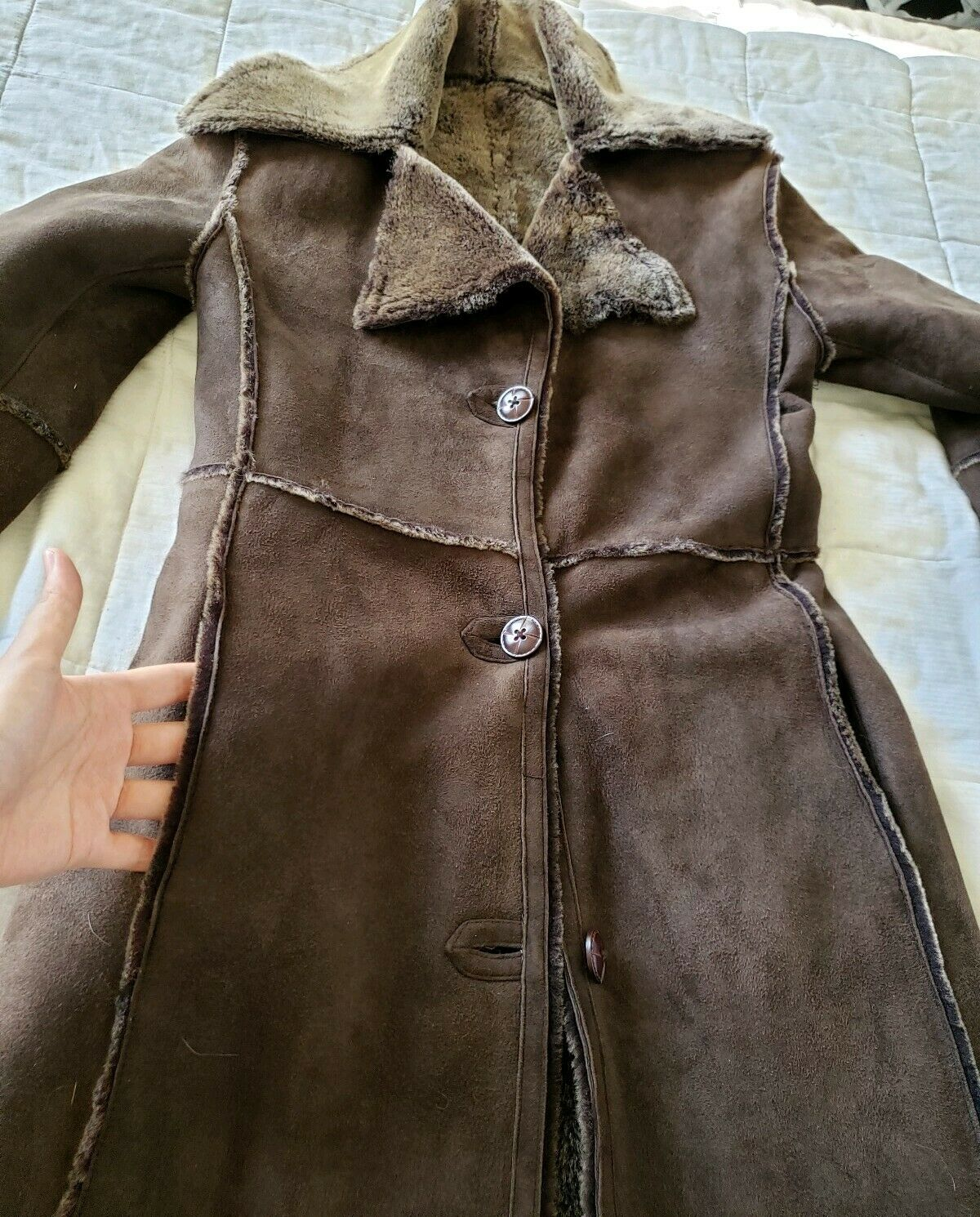 Workshop NY full length shearling coat lightweigh… - image 9