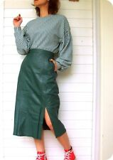 Vintage MISS HELEN High Waisted Leder Rock Blogger Sexy Taschen 38 Leather Skirt