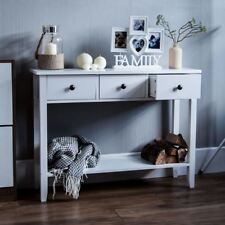 Windsor 3 Drawer Console Table Shelf  Hallway Side End Dressing Table Desk White