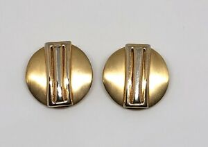 Pair-of-Gold-Tone-Retro-Statement-Clip-On-Disc-Earrings-1980s