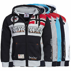Felpa-GEOGRAPHICAL-NORWAY-Uomo-Men-Fleece-Full-Zip-Anapurna-cappuccio-Flyer-new