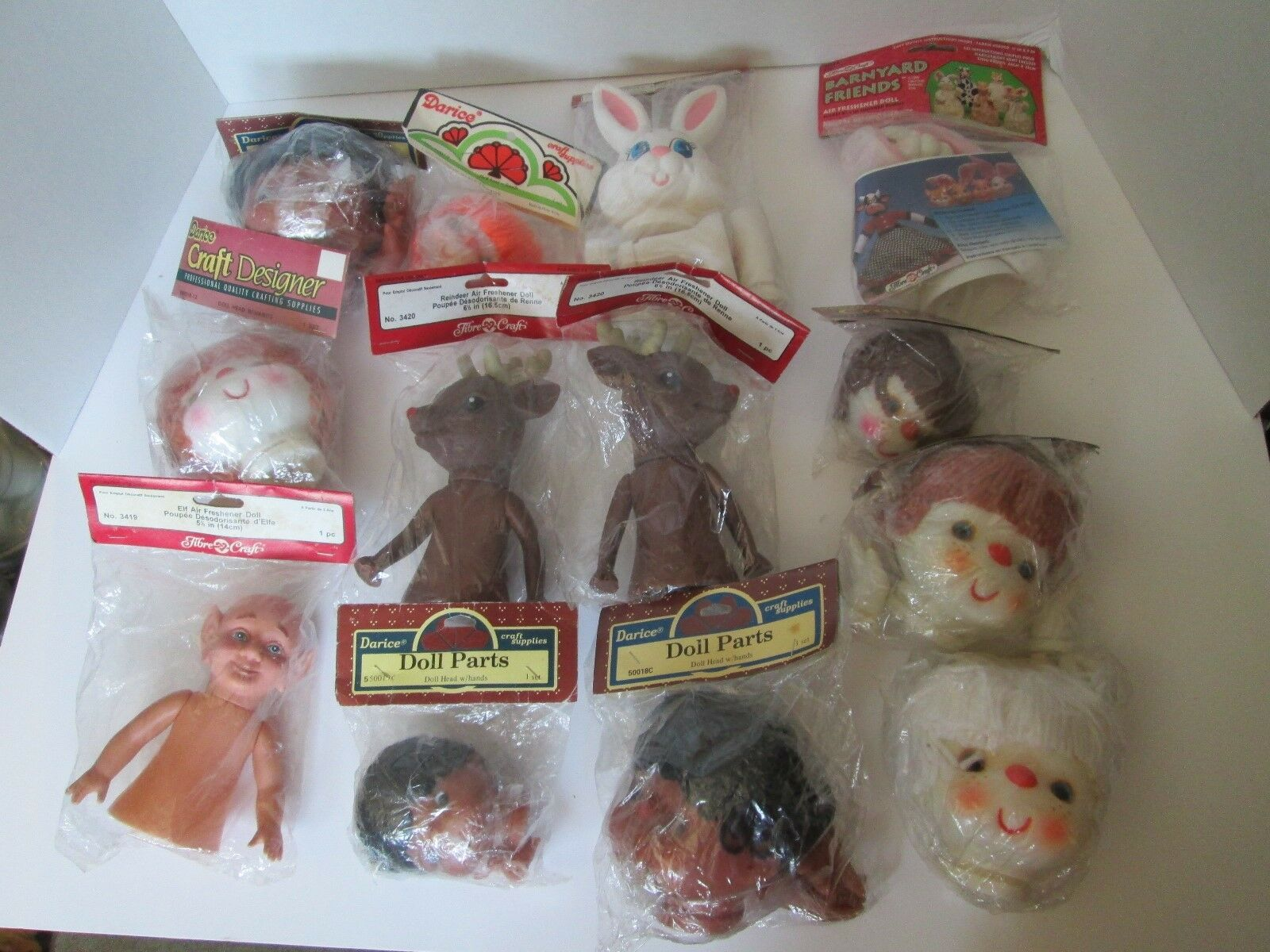 Lot 13 Darice  Fibre Craft bambola PARTS Head Hes Bunny Elf Boy Girl Reindeer Yarn  varie dimensioni