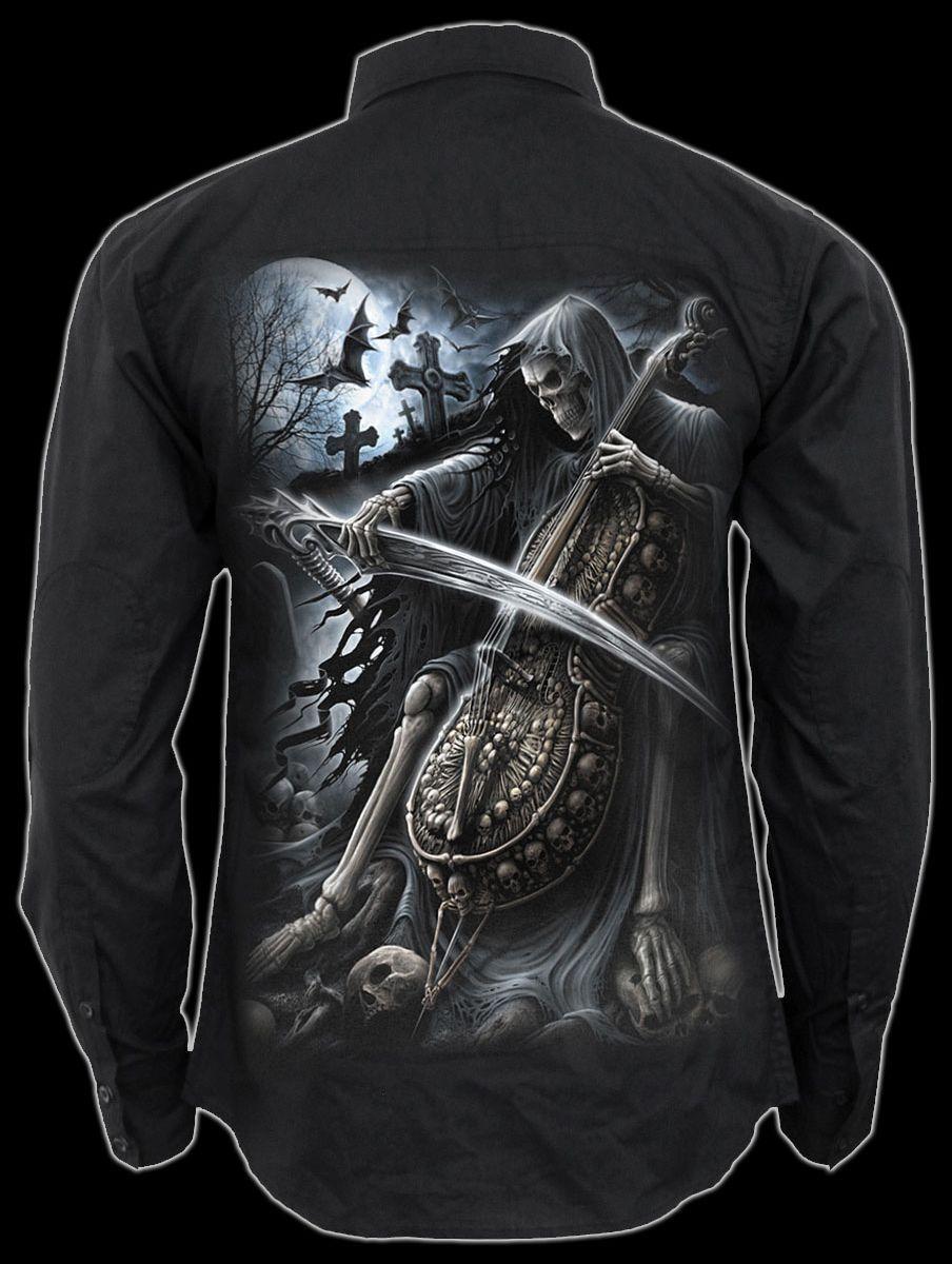 Herrenhemd Gothic Reaper - Symphony of Death - Spiral Hemd Shirt Mode    | Fairer Preis