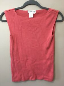 Coldwater-Creek-Thin-Knit-Pink-Ribbed-Sleeveless-Top-Blouse-Size-S-Small-Womens