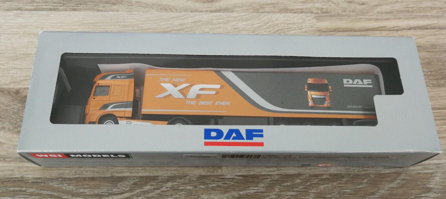 WSI Models-DAF XF SUPER SPACE CAB trailer 4x2+box - 3 AXLE-OVP rares fiera modello