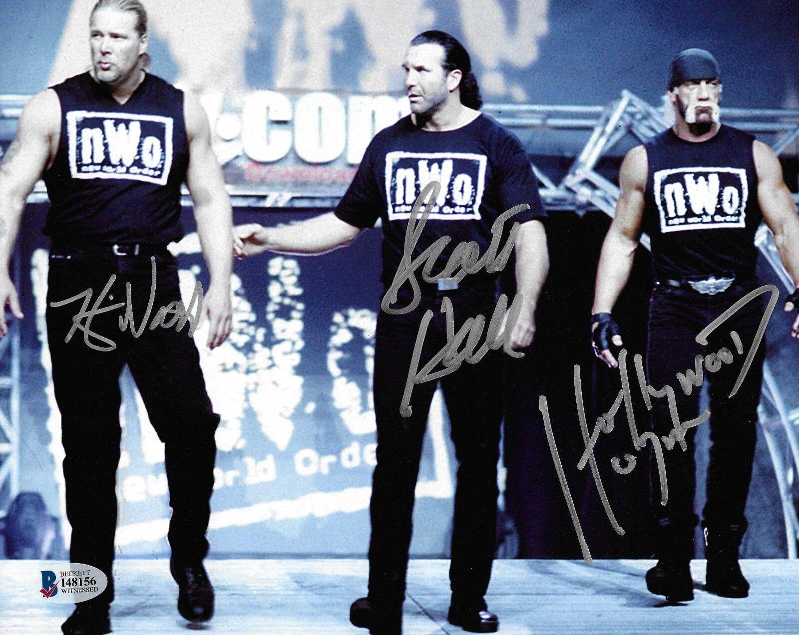 Hulk Hogan Scott Hall Kevin Nash signed 8x10 Photo Bas Beckett cert. de autenticidad Wwe Nwo Wcw 1