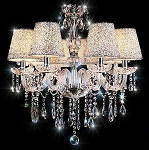 Geniune-K9-Crystal-Chandelier-CLEAR-BLACK-2-6-8-10-Arms-Candle-with-Lampshades