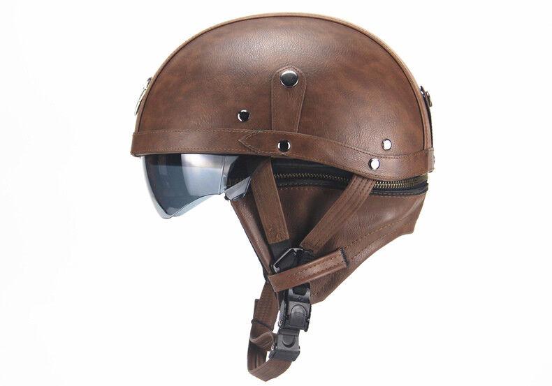 Aviator Retro Harley Motorcycle German Half Open Leather Helmet Dot Chopper -HL
