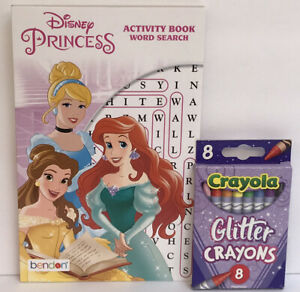 2pc-Disney-Princess-Activity-Book-Word-Search-Glitter-Crayons-Belle-Learning