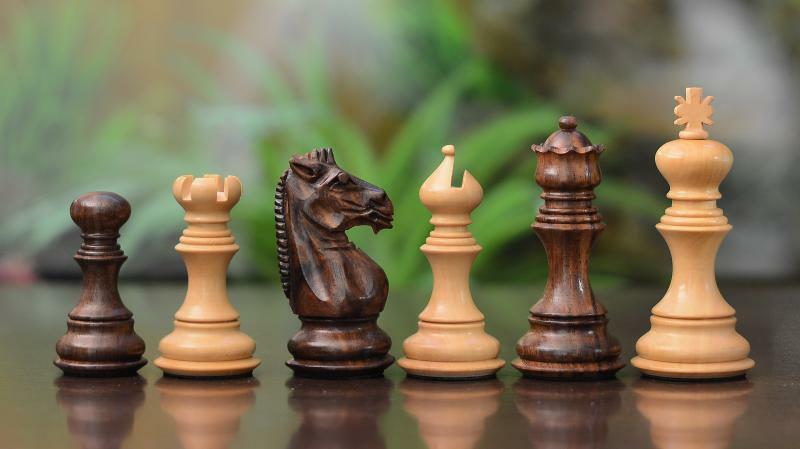The Staunton Series Economy Wooden Weighted Chess Pieces in Shesham & Box Wood