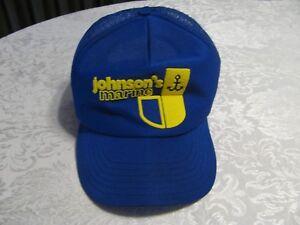 df066e06 Vintage Johnson's Marine Baseball Hat Outboard Boat Motor Cap Blue ...