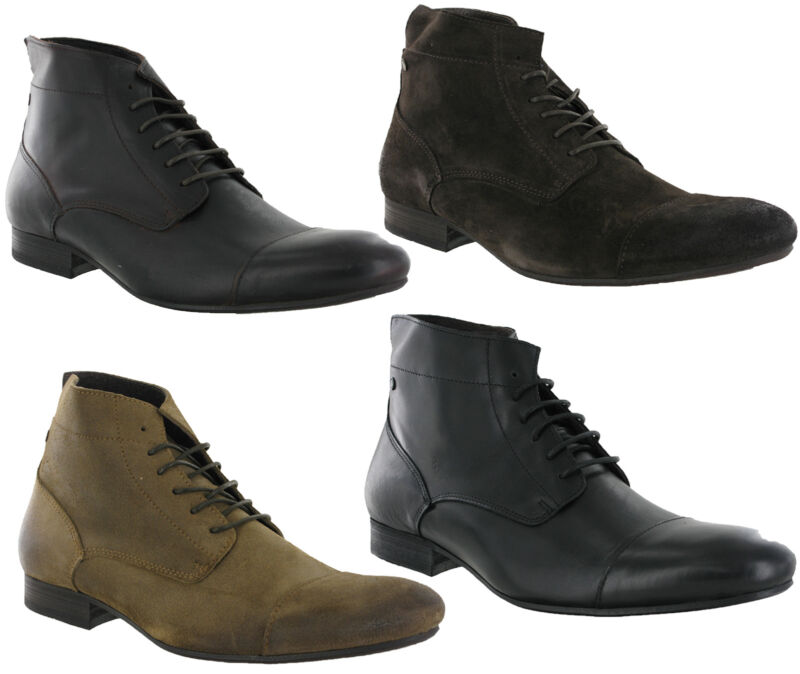 Base London Armstrong Leather Lace Up Fashion Mens Ankle Boots Size 6-12 Uk