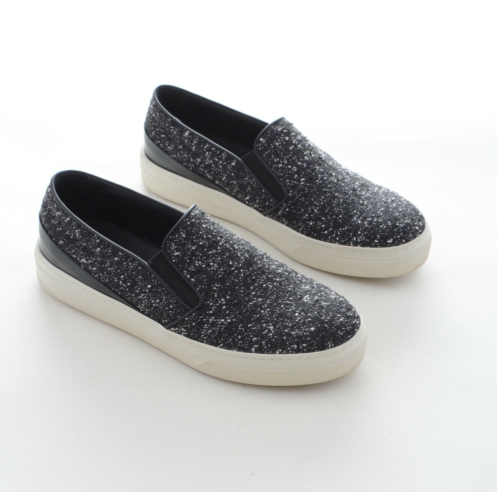 TOD`s Damen Boucle Halbschuhe Slipper Leder Textil Gr 38,5 Grau Schwarz 1-2x get