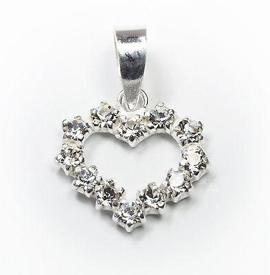 Neu 925 Silber Herz AnhÄnger Mit Zirkonia Steine In Kristallklar KettenanhÄnger Ausgezeichnet Im Kisseneffekt Halsketten & Anhänger