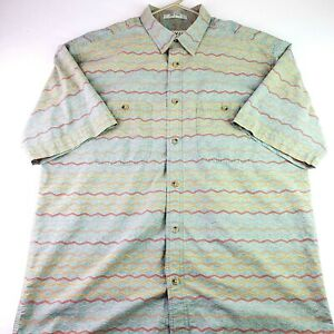 Orvis-Mens-Large-Green-Aztec-Native-American-Design-SS-Button-Up-Shirt