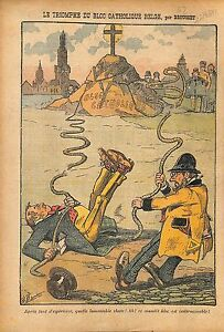 """Caricature Politique Bloc Catholique Belgique Jules Destrée 1912 ILLUSTRATION - France - Commentaires du vendeur : """"OCCASION"""" - France"""